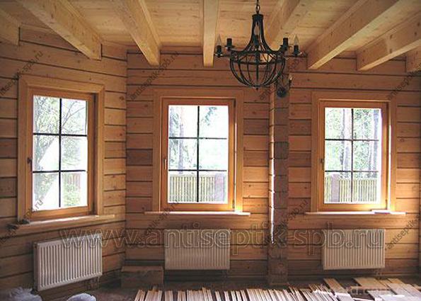 Vnútorná dekorácia dreveného domu